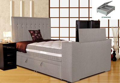 Image Sparkle TV Bed 5FT King Size Ottoman Silver Mist w/Jazira Mattress
