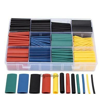 530Pcs 2:1 Heat Shrink Tubing 5 Color Tube Sleeving Wrap Cable Wire 8 Size Case