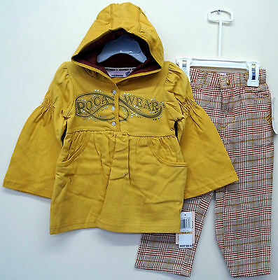 [2x] Rocawear Gold Hooded Tunis Jacket Top & Tweed Checkered Trouser Set: 3T 4T