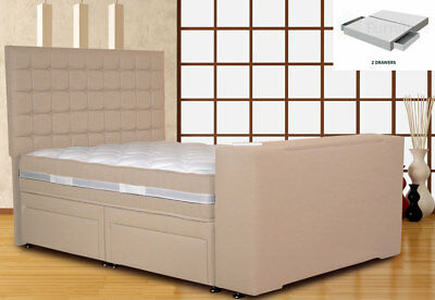 Image Classic TV Bed 5FT King Size PT 2 Drawers White Sands w/Jazira Mattress