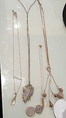 Fashion Costume Jewellery Necklace Lots ,4 Stunning Pieces & Pendents Gold Tone