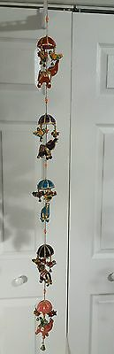 "Elephants Hanging Art Animals w Bells Beads India Stuffed 36"" Colorful Vintage"