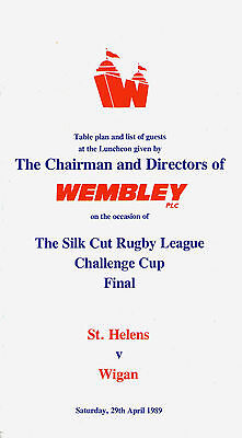 1989 CHALLENGE CUP FINAL - WIGAN v ST. HELENS - OFFICIAL RARE VIP MENU