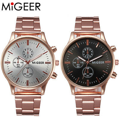 Men Women Luxury Gold Watch Crystal Stainless Steel Analog Quartz Wrist Watches