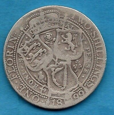 1899 Florin Coin. Queen Victoria Veiled Head Sterling Silver 2/-. Two Shillings.