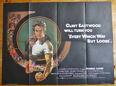 vintage Every Which Way But Loose quad film poster 1978 Excellent condition