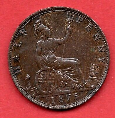 Queen Victoria 1875 Bun Halfpenny.  Victorian Half Penny Coin. Lovely Condition.