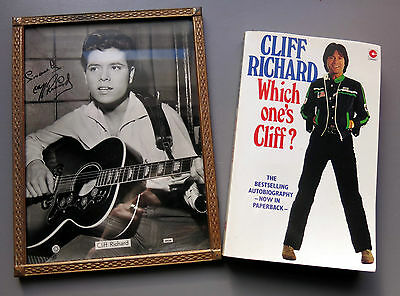 Cliff Richard Framed Photograph (Pre-signed) + Autobiography Which One's Cliff?