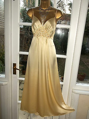 Vintage St Michael Satin Poly Embroidered Slip Dress Nightie Gown UK14 Tall Girl
