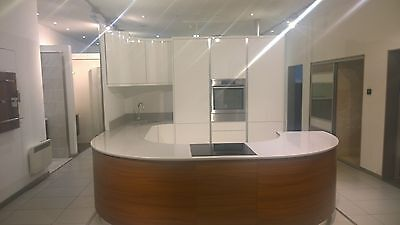 Ex display kitchen - gloss white and walnut veneer