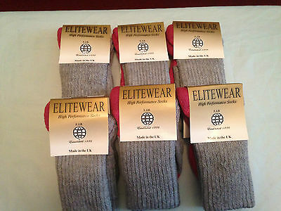 6 pair ladies wool double knit hiking walking socks uk size medium 4-7 pink grey