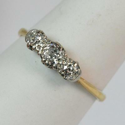 18ct Gold and Old Cut Diamond Ladies Trilogy Ring t0366