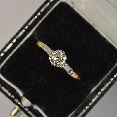 Edwardian 0.25ct Old Cut Diamond 18ct Gold and Platinum Ring t0640