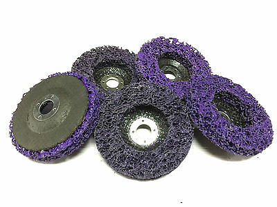 5 x 100mm POLY STRIP DISC PURPL WHEEL CAR PAINT RUST REMOVAL CLEAN ANGLE GRINDER