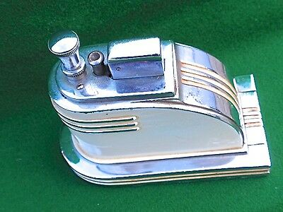 1935  Rare Vintage Ronson Art Deco Touch Tip Streamlined Table Lighter