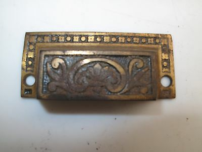 Antique Cast Iron Victorian Ornate Drawer Pull Handle Eastlake A10 Brass Plate