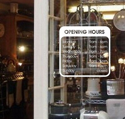 OPENING HOURS - custom made sign for your shop or workshop /door or window/