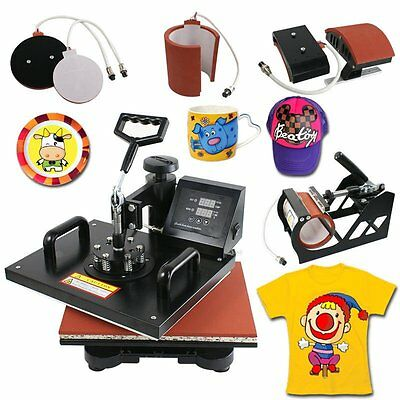 5 in 1 Heat Press Machine Digital Transfer Sublimation T-Shirt Hat Plate Cap TO