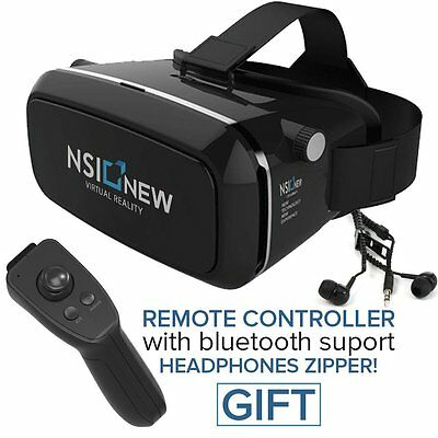 VR Headset Virtual Reality Glasses Immersive 3D Bluetooth Remote for iOS Android