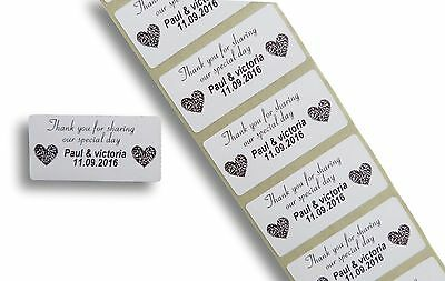 100 Custom White 25Mm X 50Mm Personalised Thank You Wedding Stickers, Labels
