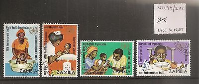 Zambia 1973 25th Anniv WHO SG199/202 Fine Used CAT £30.00, incl. RARE 4n value