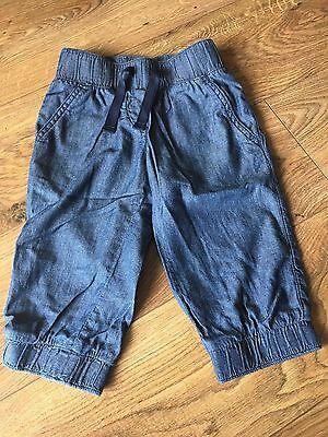 Next 6yrs Chambray Denim Cropped Cuffed Elasticated Waist Summer Shorts Jeans