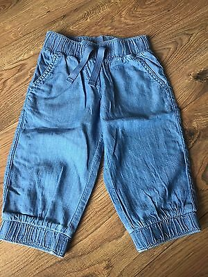 Next 6 yrs Chambray Denim Cropped Cuffed Elasticated Waist Summer Shorts Jeans