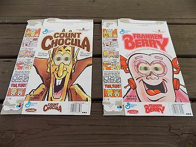 Vintage Count Chocula and Franken Berry Spooky eyes cereal box General Mills