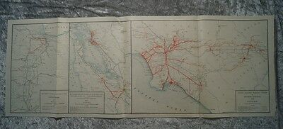 California: San Francisco - Los Angeles Usa Original Lithography Map 1915 #b900