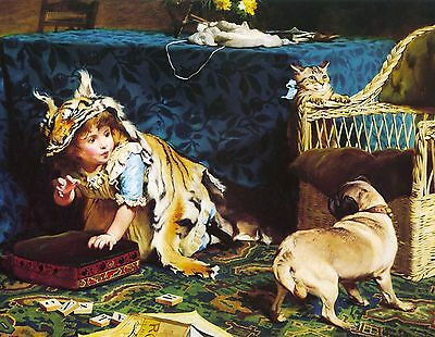 Pug Little Girl Kitten Cat Dog Puppy Dogs Puppies The Tiger Vintage Poster Print