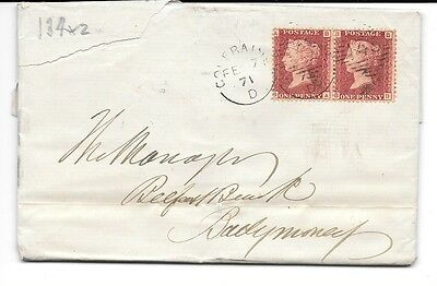 GB N.IRELAND 1871 Cover, E.L. QV Penny red stamps,Plate 134 BA & BB, pmks.