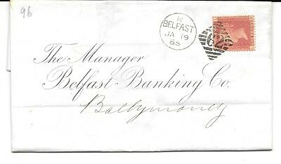 GB N.IRELAND 1865 Cover, E.L. QV Penny red,Plate 96 LB, pmks.