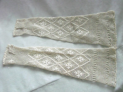 Vintage Edwardian Gloves Fingerless Gauntlets LACE Thumbs CROSS Bridal mitts NOS