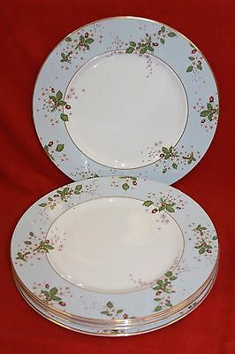 "WEDGWOOD ~ WILD STRAWBERRY BLOOM (BLUE)  ~ 10.8"" DINNER PLATES x 6"