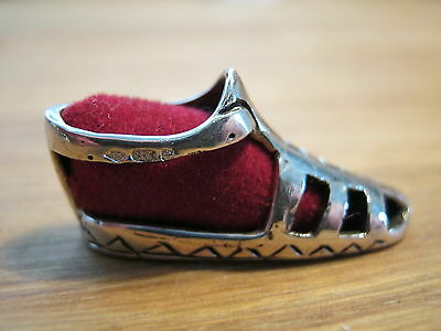 A Pretty Sterling Silver Dinky Babies Sandal Pin Cushion - Birmingham Hallmarked