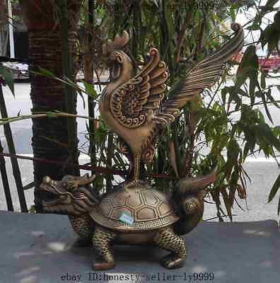 "13""Old Chinese fengshui Bronze longevity Dragon turtle phoenix bird lucky statue"