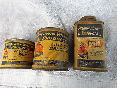 3 vintage sherwin williams paint cans