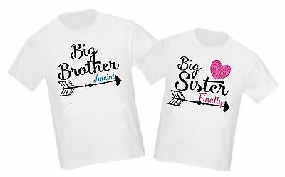 2 Big Brother Big Sister Again Arrow Pregnancy Announcement T-Shirt ANY SIZE