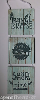 Shabby Chic Tropical Paradise Style set of 3 Hanging Wooden Sign Plaque New