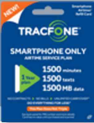 Tracfone Pin for smartphone only (1 Year , 1500 talk , 1500 Data & Text