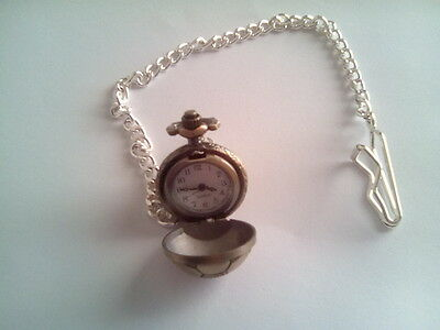 Miniature Brass Cased Football Shaped  Pocket Watch on Chain (#1)