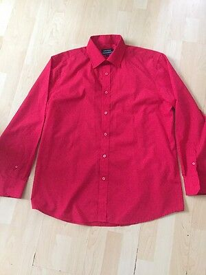 Men's GREENWOODS Regular Fit Red Shirt 17 Collar
