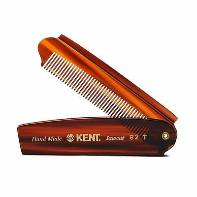 Kent 82T 200mm Handmade Sawcut Fine Toothed Folding Pocket Hair Styling Comb