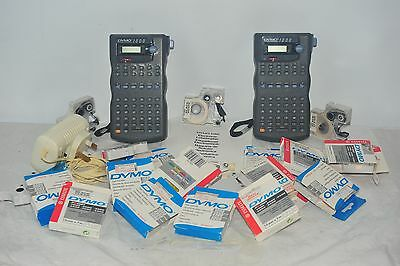 2x Dymo 1000 Labelmaker Electronic Label Makers With Tape Cassettes Red Blue