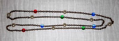 Antique 1920's Brass Chain Necklace Pearl Ruby Sapphire Emerald Colored Flapper