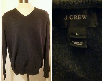 J Crew New York Men's Cotton & Cashmere Blend Sweater/Large/Gray/V-Neck
