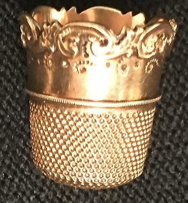 Victorian 10 K Solid Yellow Gold Thimble From The 1940's