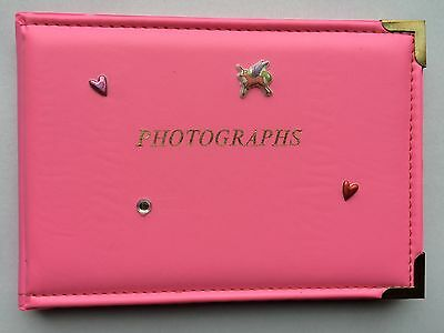"Pink 'Photographs' 6""x4"" Photo Album With Unicorn,Hearts & Gems. Holds 36 Photos"