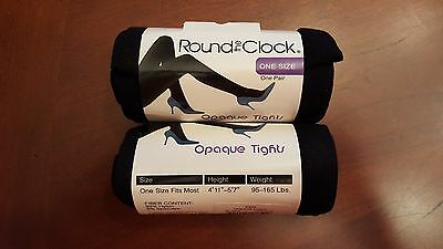 Two (2) Pairs Round The Clock Opaque Tights In Color Black   One Size Fits Most