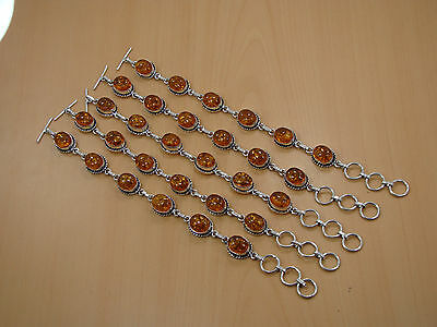 Wholesale Lot 5Pc 925 Silver Plated Superb Amber Bracelet Jewelry